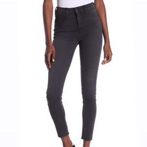 Madewell- Garment dyed grey high rise skinny denim